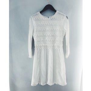 Dolce Vita white silk crochet dress size S.